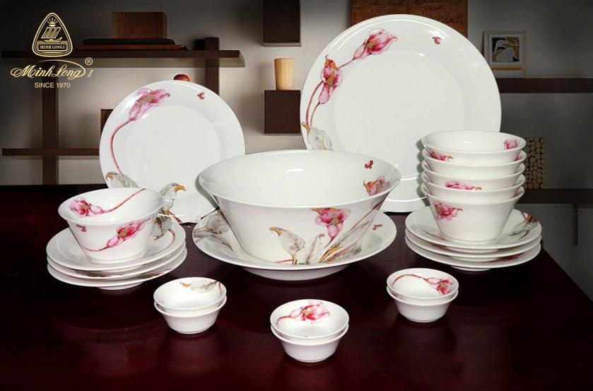 Bộ bàn ăn 14sp Tulip Ngà Loa Kèn Hồng 141428430 Minh Long