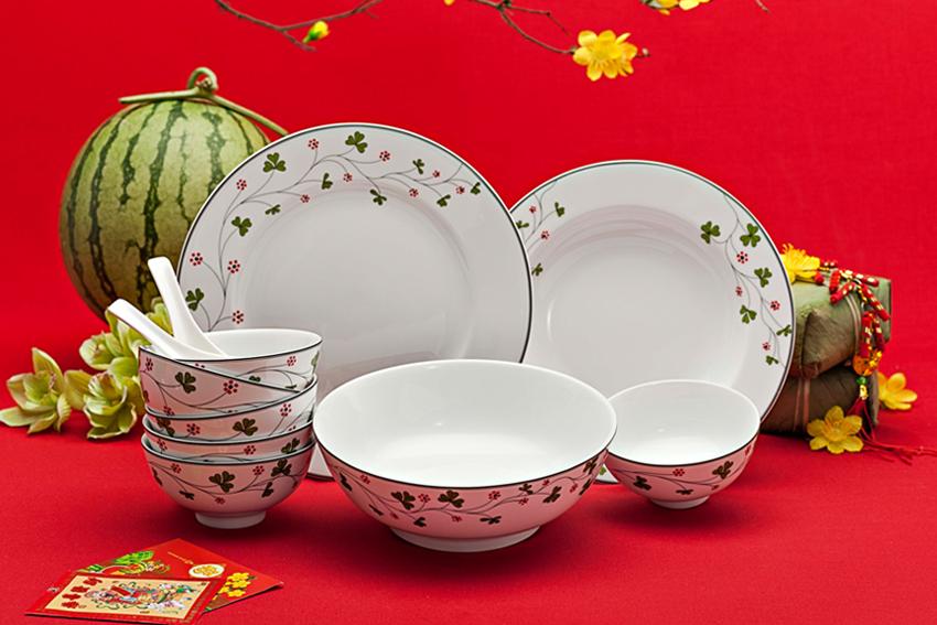 Bộ bàn ăn 09sp Jas Hoa May Mắn 09216 Minh Long