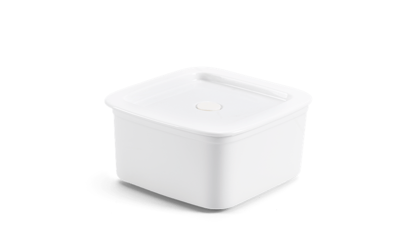 Hộp dưỡng sinh vuông đựng thực phẩm 15 cm + nắp - Trắng