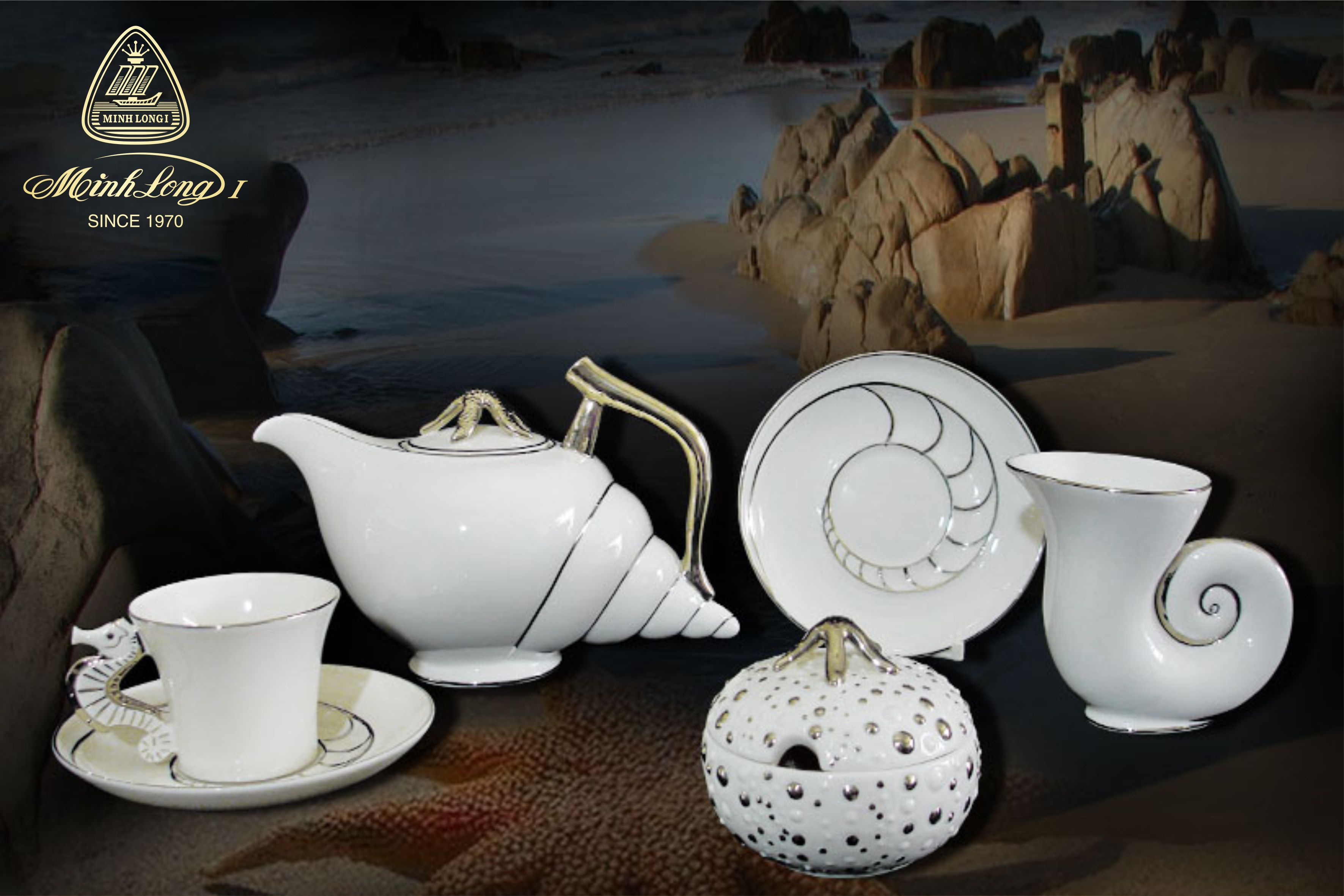 Bộ trà 1.2L Ngọc Biển Chỉ Bạch Kim Minh Long