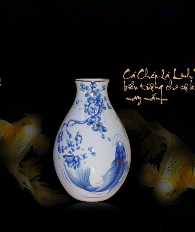 Bình hoa 25cm Cá Chép Cobalt 502534354 Minh Long
