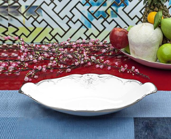 Dĩa trái cây Đài Các Trang trí Bạch Kim (men trắng) 073662247 Minh Long