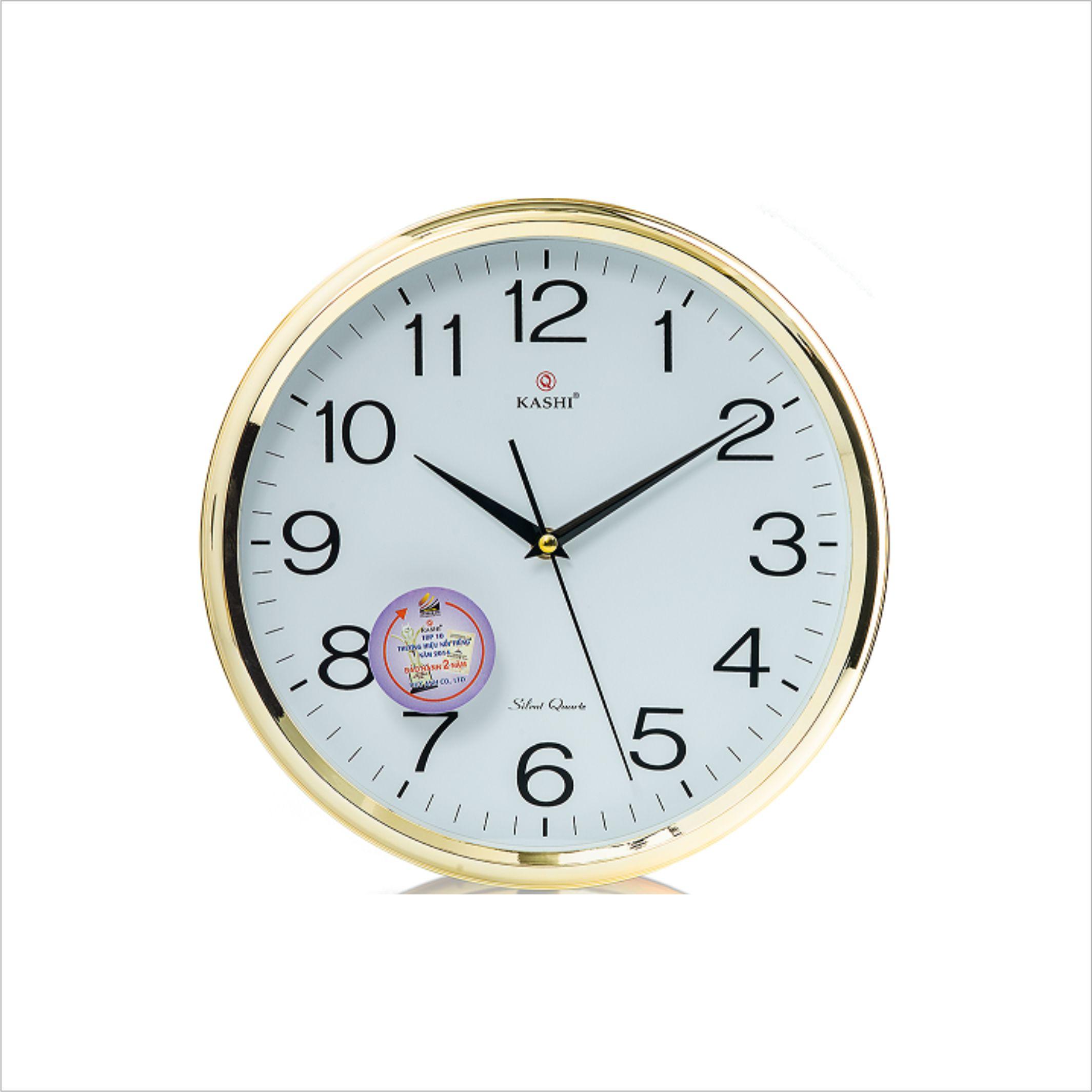 Đồng hồ treo tường DHHM321 vành vàng Kashi 30cm