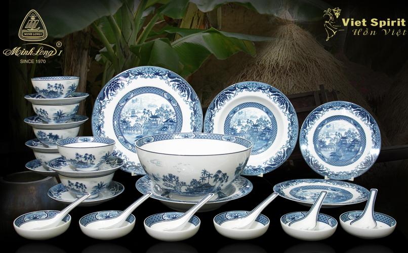 Bộ bàn ăn 30sp Hoàng Cung Hồn Việt 30038 Minh Long