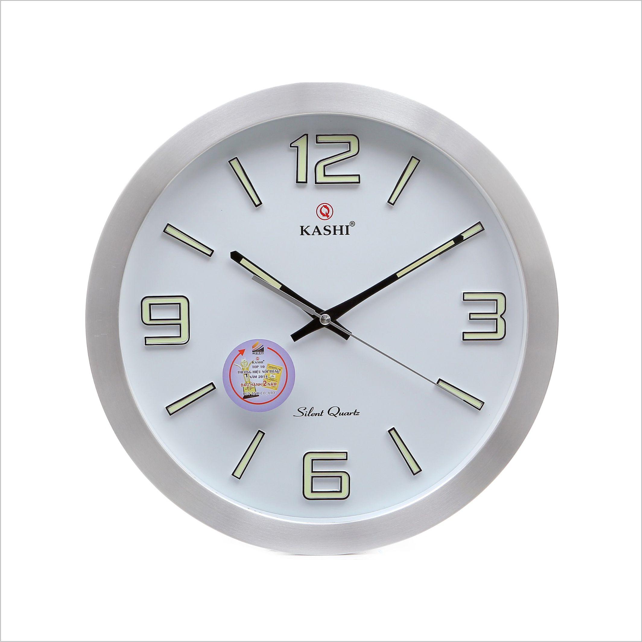 Đồng hồ treo tường vành nhôm DHK707 Dạ quang Trắng Kashi 35cm