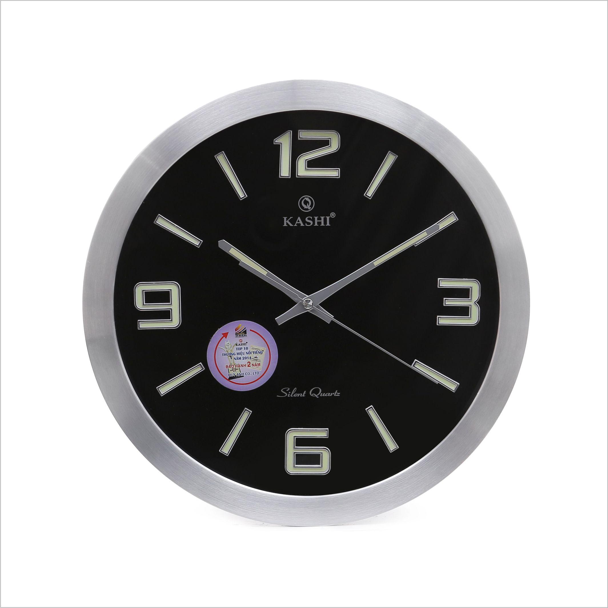 Đồng hồ treo tường vành nhôm DHK707 Dạ quang đen Kashi 35cm