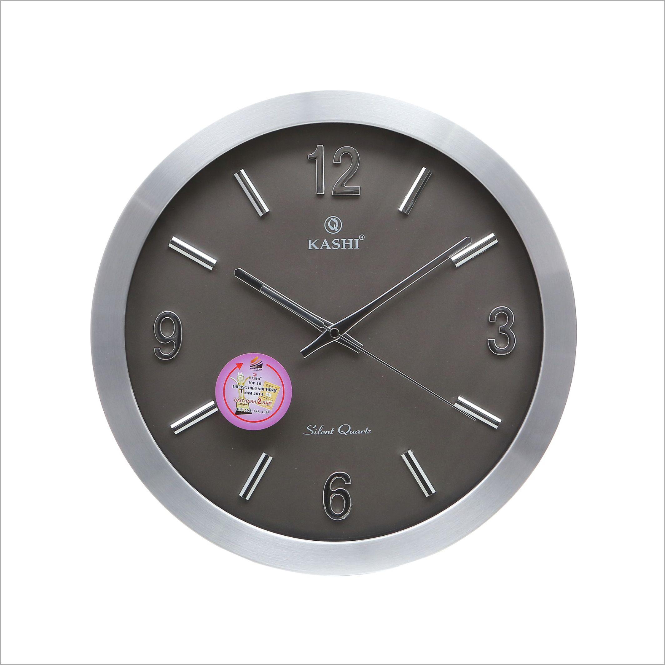Đồng hồ treo tường vành nhôm DHK707 Số cọc Kashi 35cm