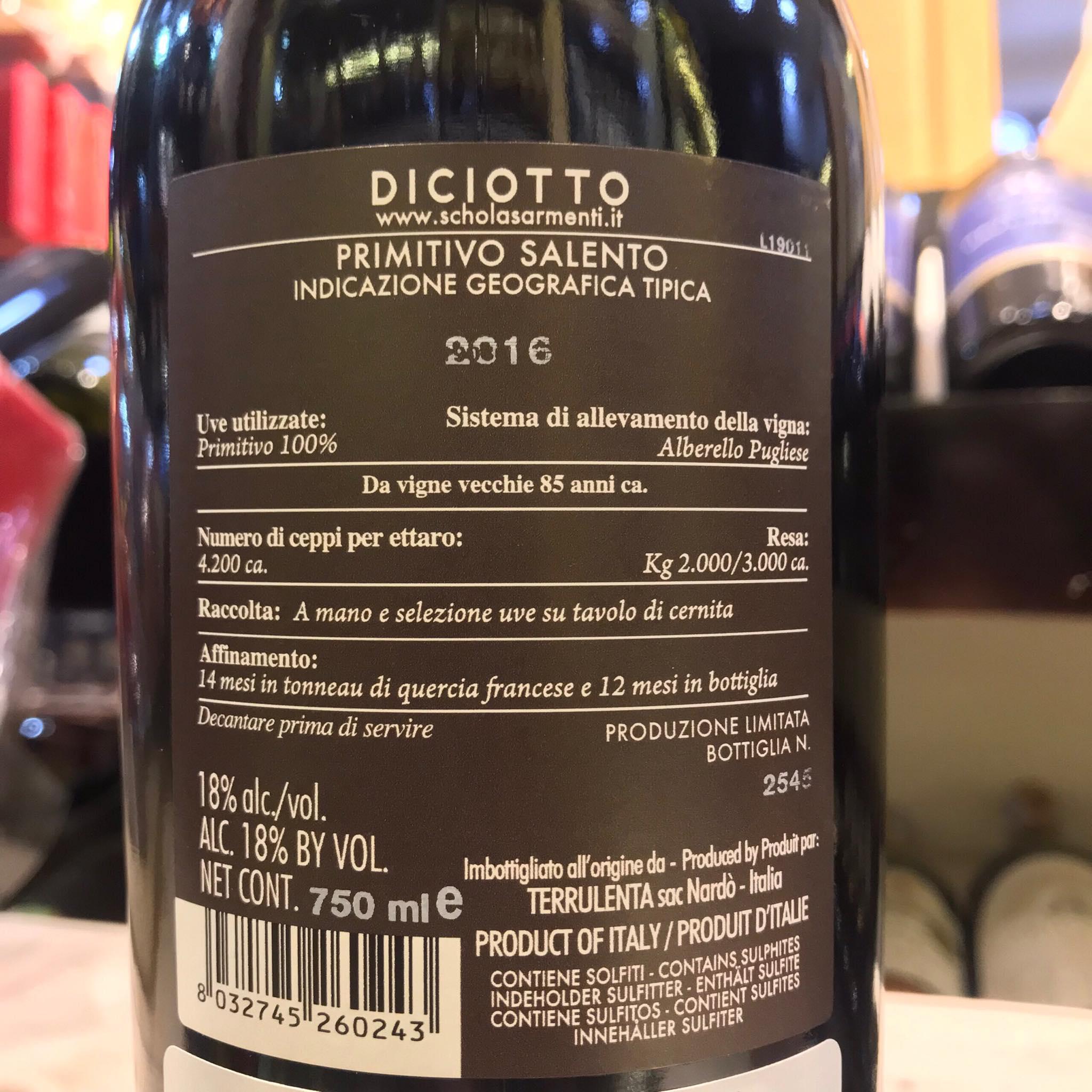 RƯỢU VANG DICIOTTO-PRIMITIVO (VANG Ý)