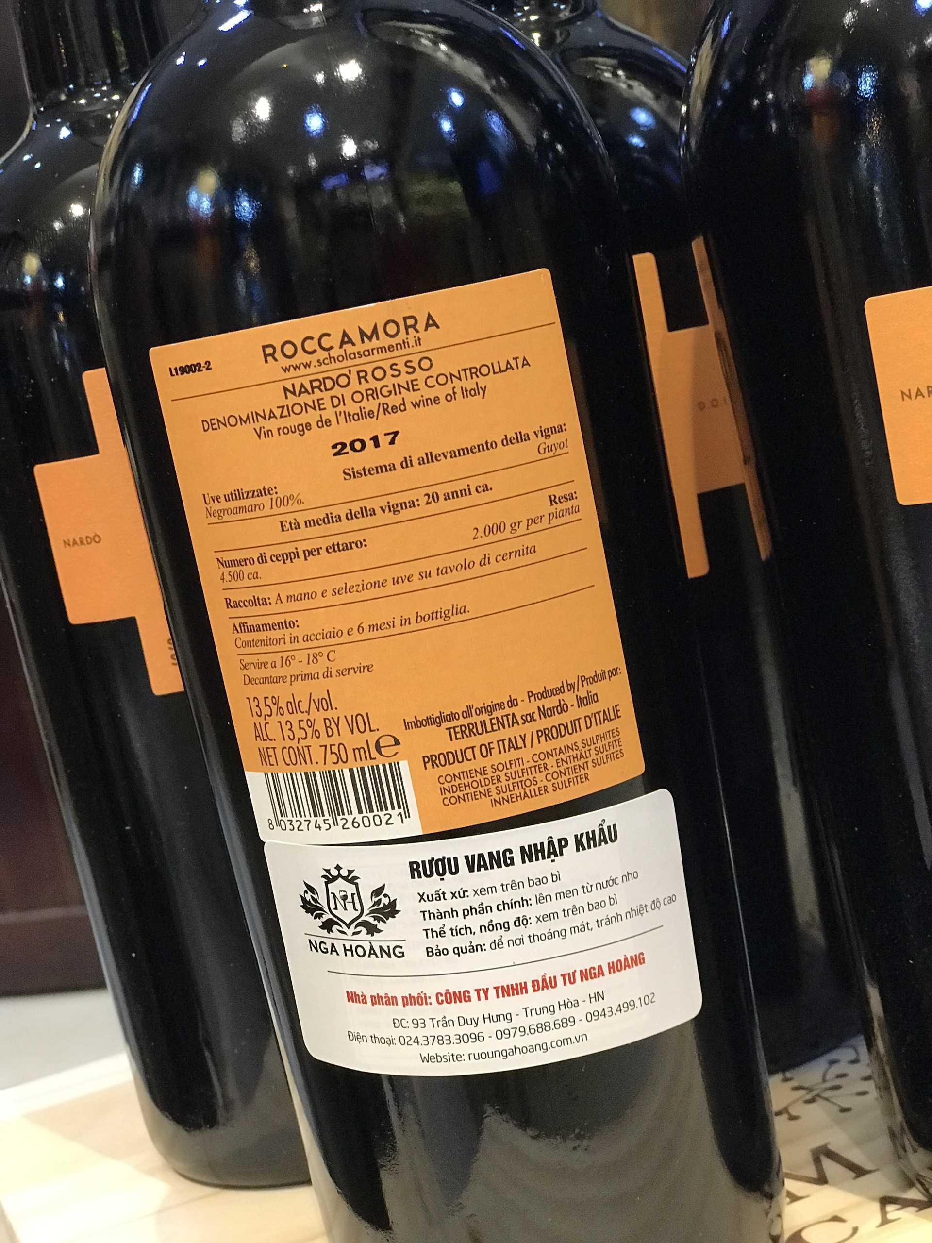 Rượu vang đỏ Roccamora (VANG Ý)