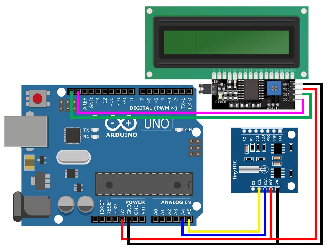 Hiển thị thời gian thực (RTC DS1307) lên LCD16x2 sử dụng Arduino