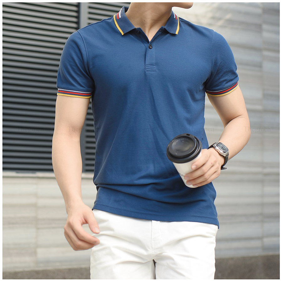 LINED-MIX POLO SHIRT