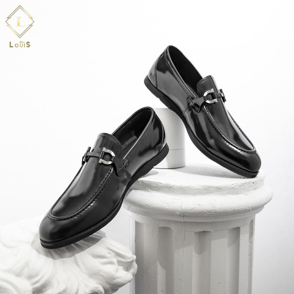 Giày lười da bóng quai kim loại QL500