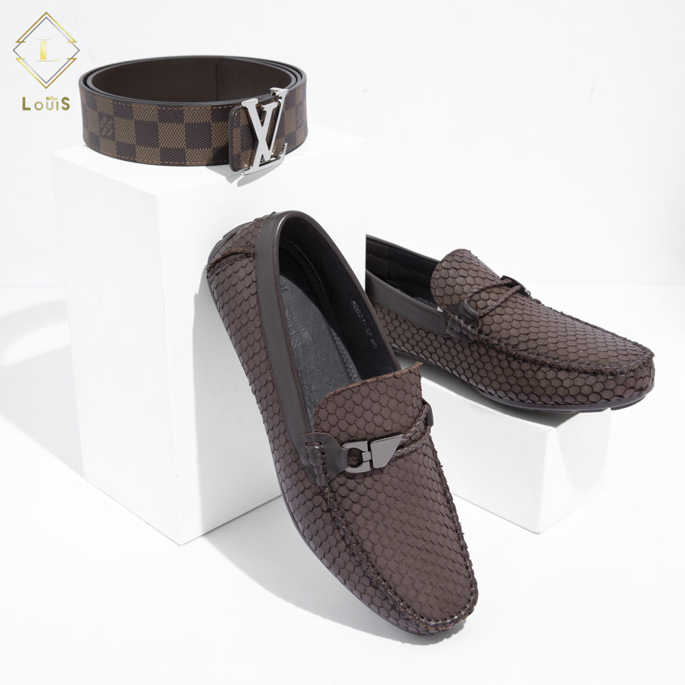 Giày lười da họa tiết WD821-32