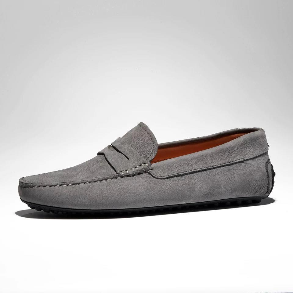 Giày lười xám da lộn cao cấp GL-X