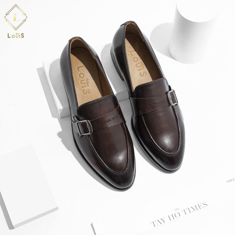 Giày lười họa tiết quai cài LE-01