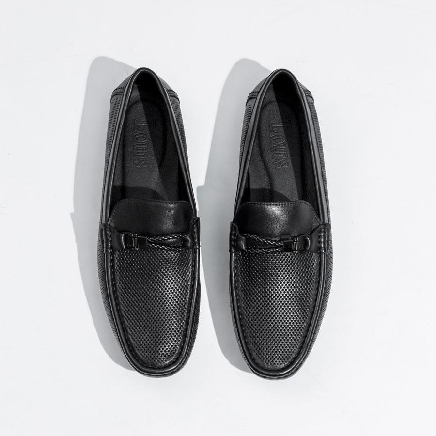 Giày lười họa tiết đục lỗ quai tết kim loại 014-1