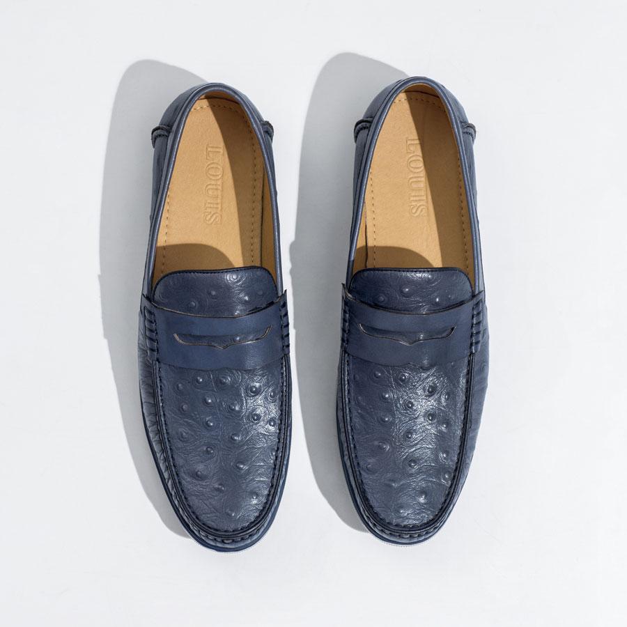 Giày Mocassion xanh da nổ đế cao su đúc JX13018-21