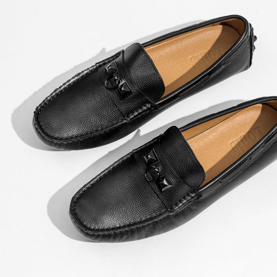 Giày lười da sần đai kim loại H05