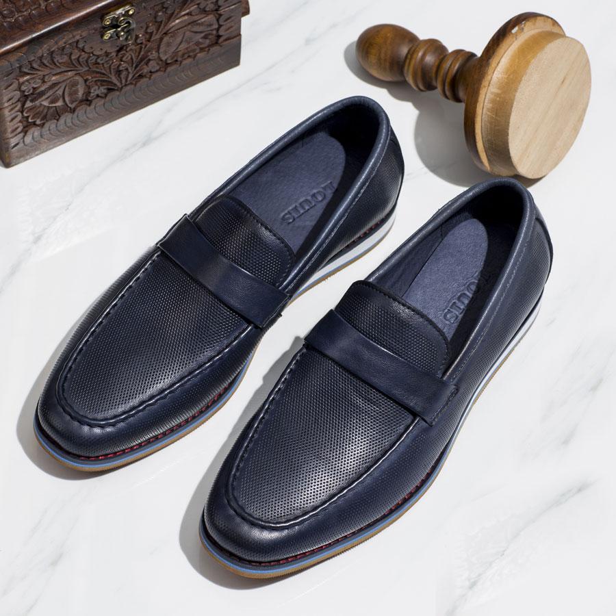 Giày lười xanh đế trắng họa tiết đục lỗ FS333-2