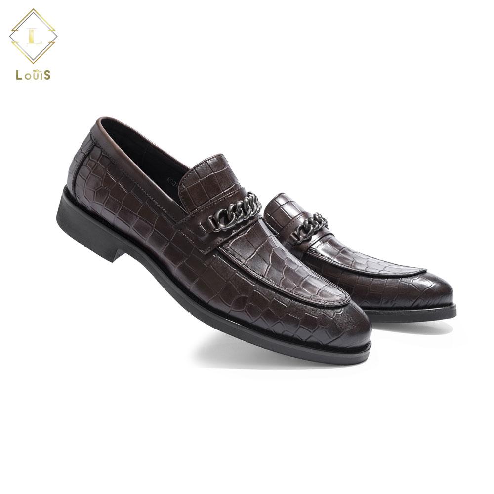 Giày lười nâu quai xích A9010-E2-N