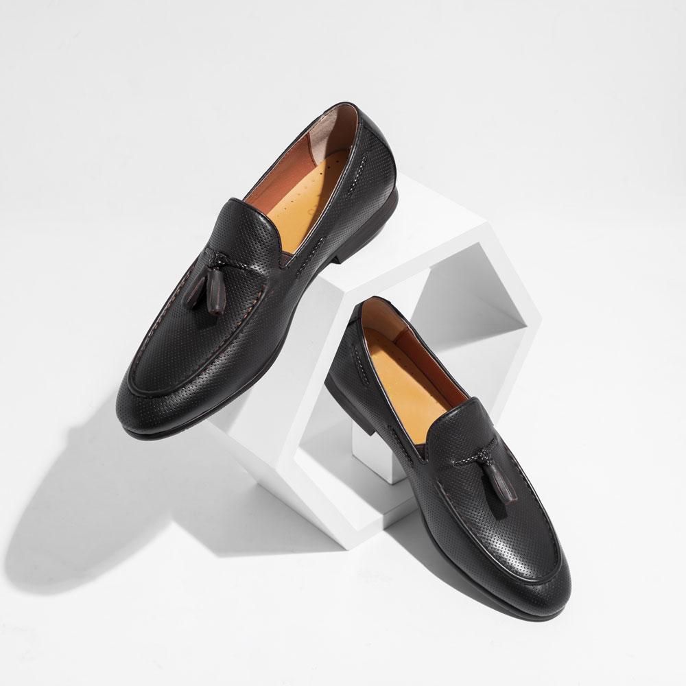 Giày Loafer nâu họa tiết chuông JMHR23-7-S18