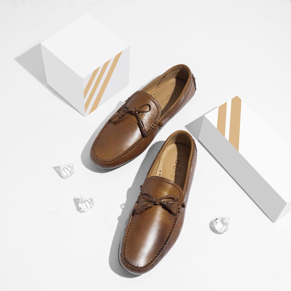 Giày lười da nâu họa tiết nơ 0082
