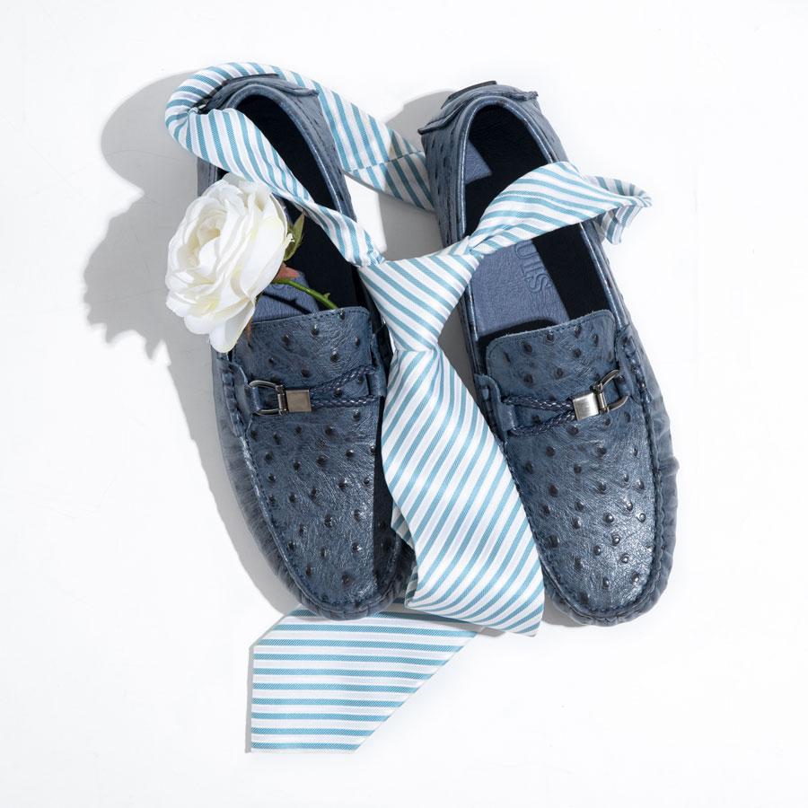 Giày lười nam họa tiết nổ màu xanh 6684-1A-X