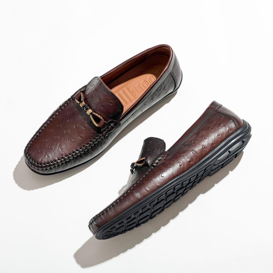 Giày mọi nâu da nổ đai kim loại KT1618-107