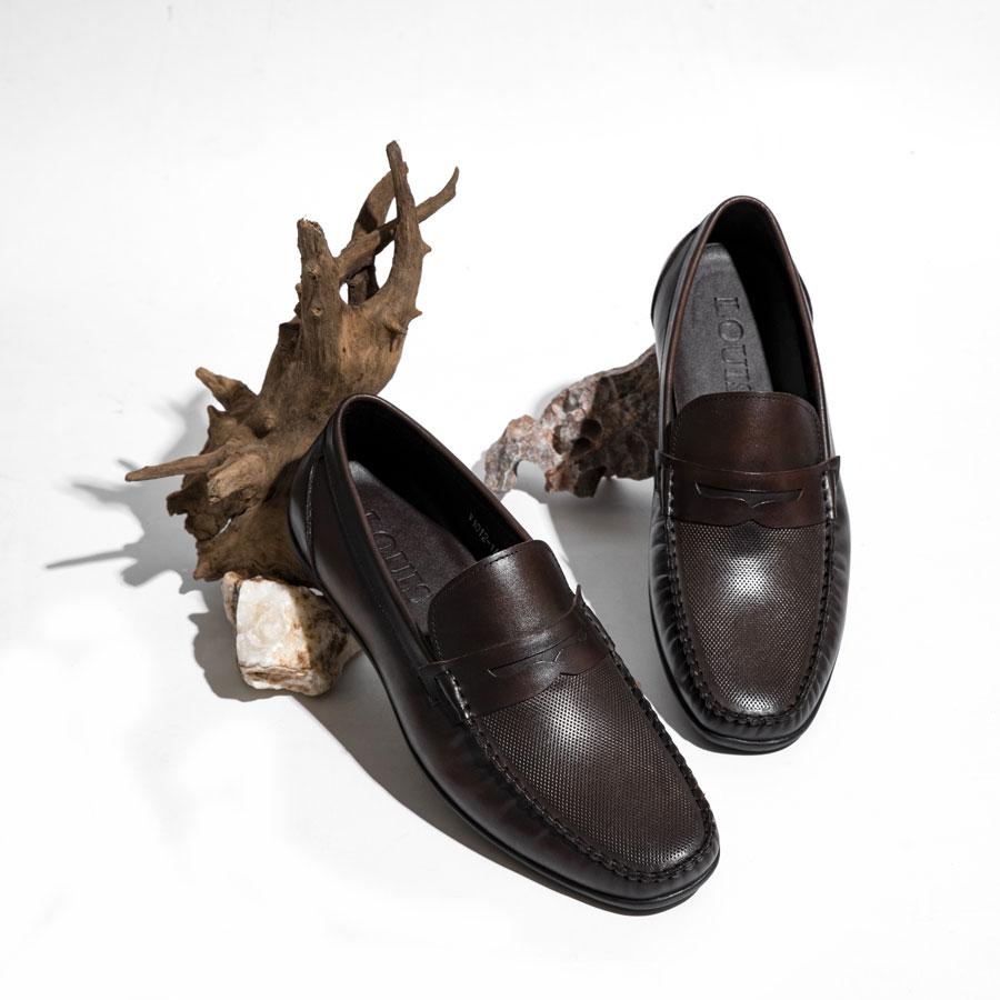 Giày lười nâu bo chỉ viền cao cấp V1012-1A
