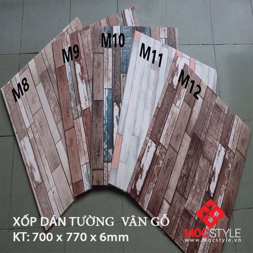 Xốp dán tường vân gỗ 6mm