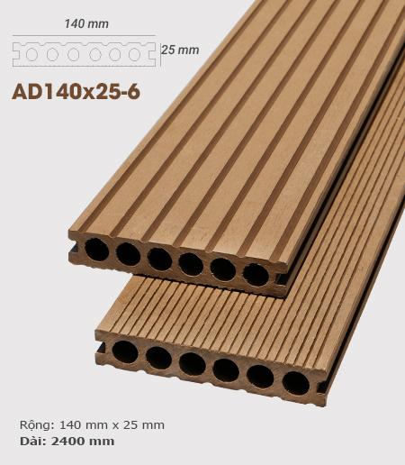 Sàn gỗ nhựa ngoài trời AWood AD140x25-6 Wood