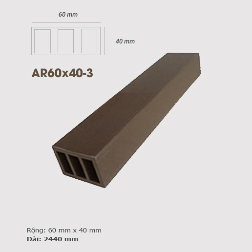 Thanh lam gỗ AWood AR60x40 -3 Coffee