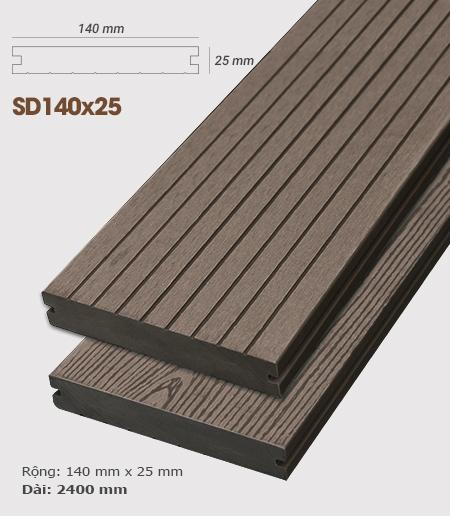 Sàn gỗ nhựa ngoài trời AWood SD140x25 Coffee