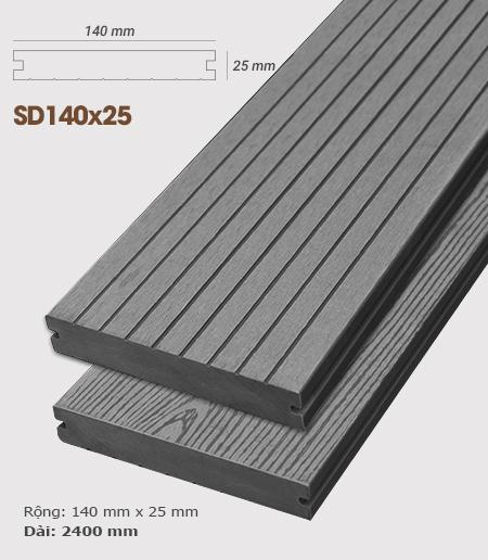 Sàn gỗ nhựa ngoài trời AWood SD140x25 Dark Grey
