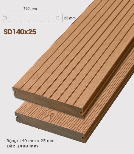 Sàn gỗ nhựa ngoài trời AWood SD140x25 Wood