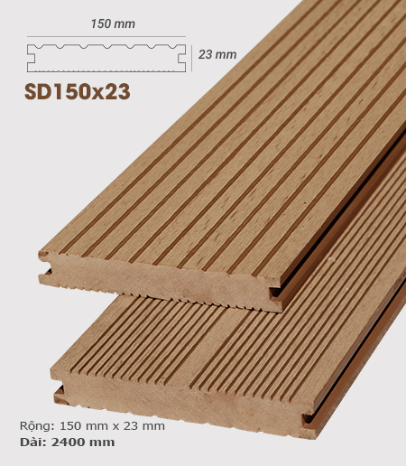 Sàn gỗ nhựa ngoài trời AWood SD150x23 Wood