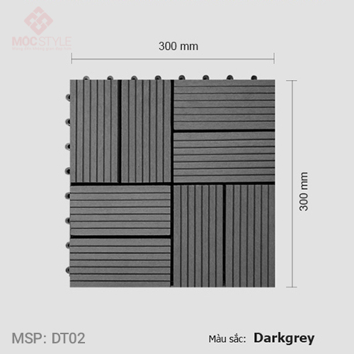 Vỉ gỗ nhựa lót sàn AWood DT02 Dark Grey