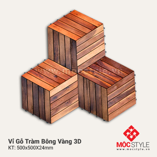 Vỉ gỗ Tràm Bông Vàng 3D
