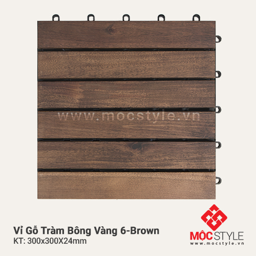 Vỉ gỗ Tràm Bông Vàng 6 Brown