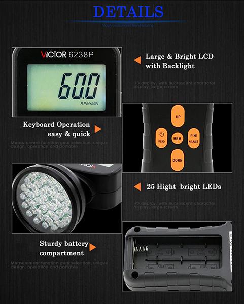 Máy đo vòng quay động cơ đèn LED VICTOR 6238P trọn bộ