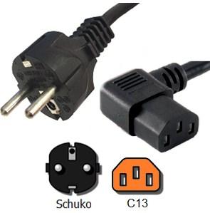 Dây Nguồn 2 Chân Tròn Chữ L Vuông Góc 90 Độ IEC60320 C13