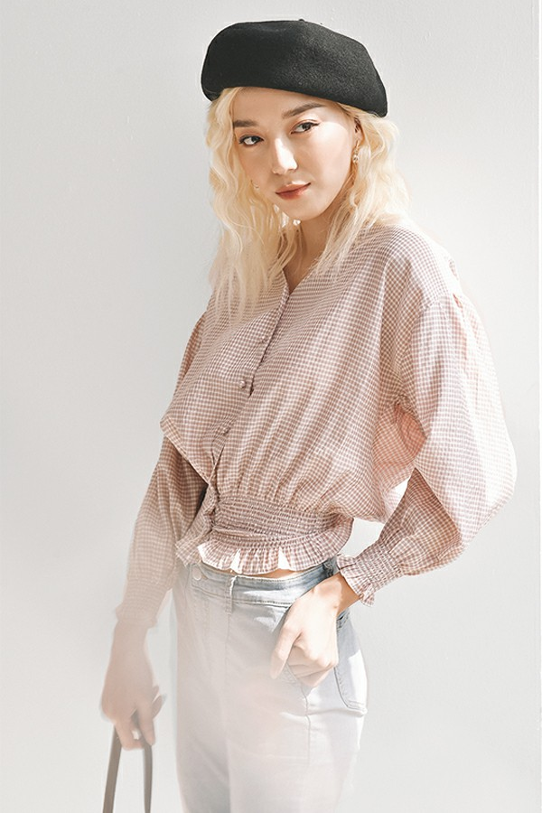 Áo caro hồng ôm eo 1