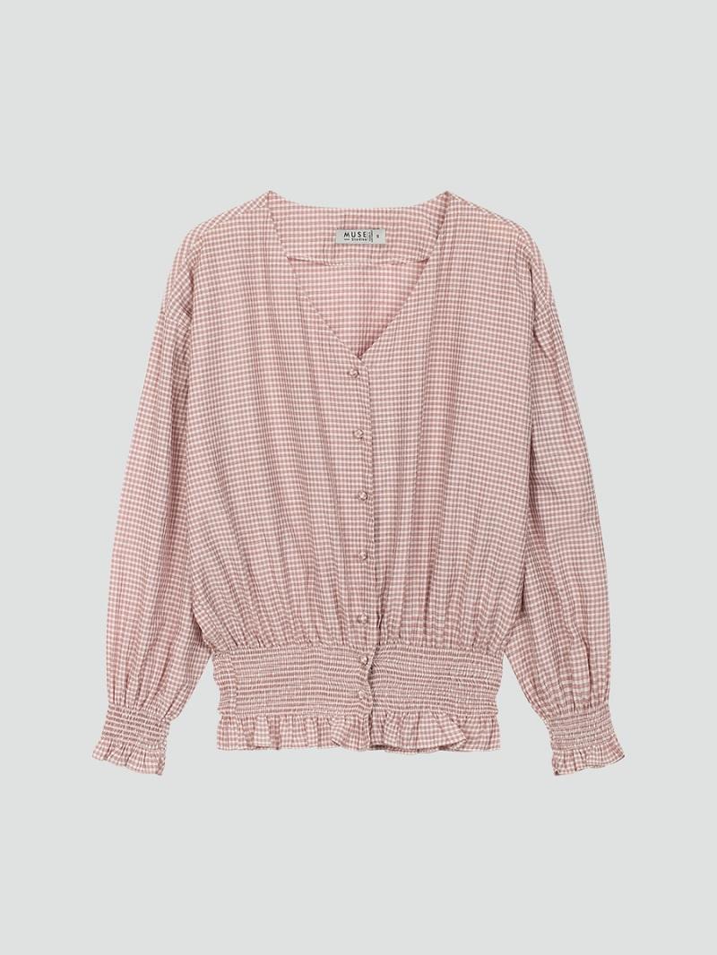 Áo caro hồng ôm eo 5