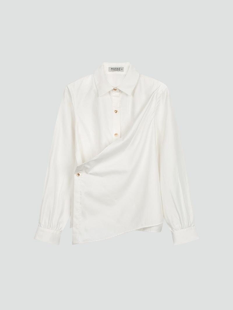 Áo sơ mi trắng vạt chéo 4