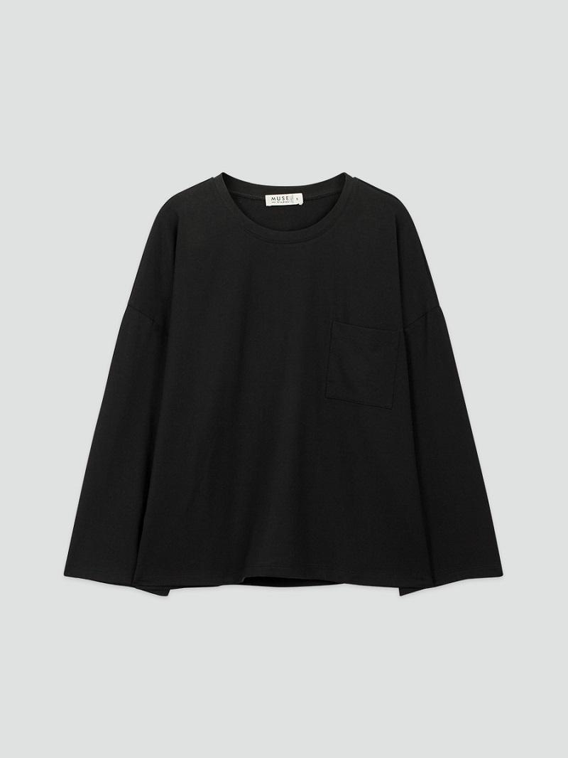 Áo thun 100% cotton đen dài tay