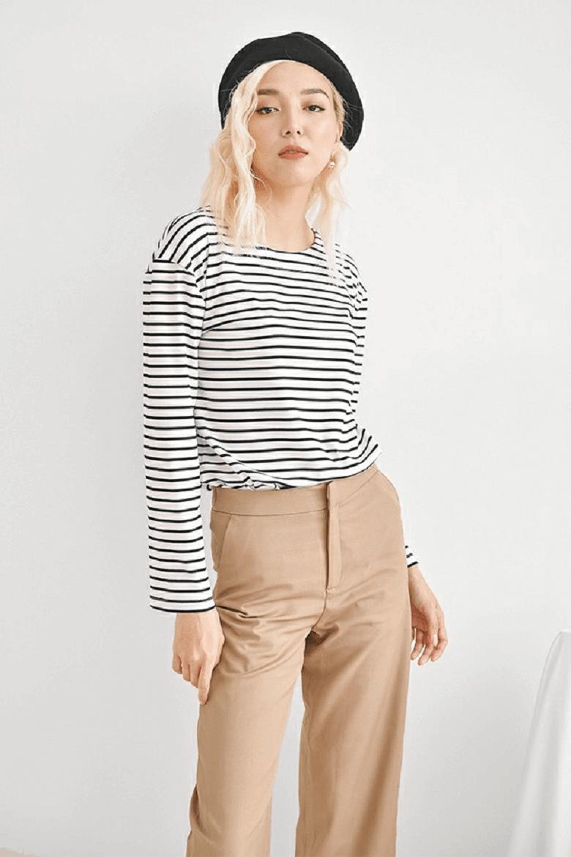 Basic Stripe Longsleeve Tee - Áo thun kẻ đen/trắng
