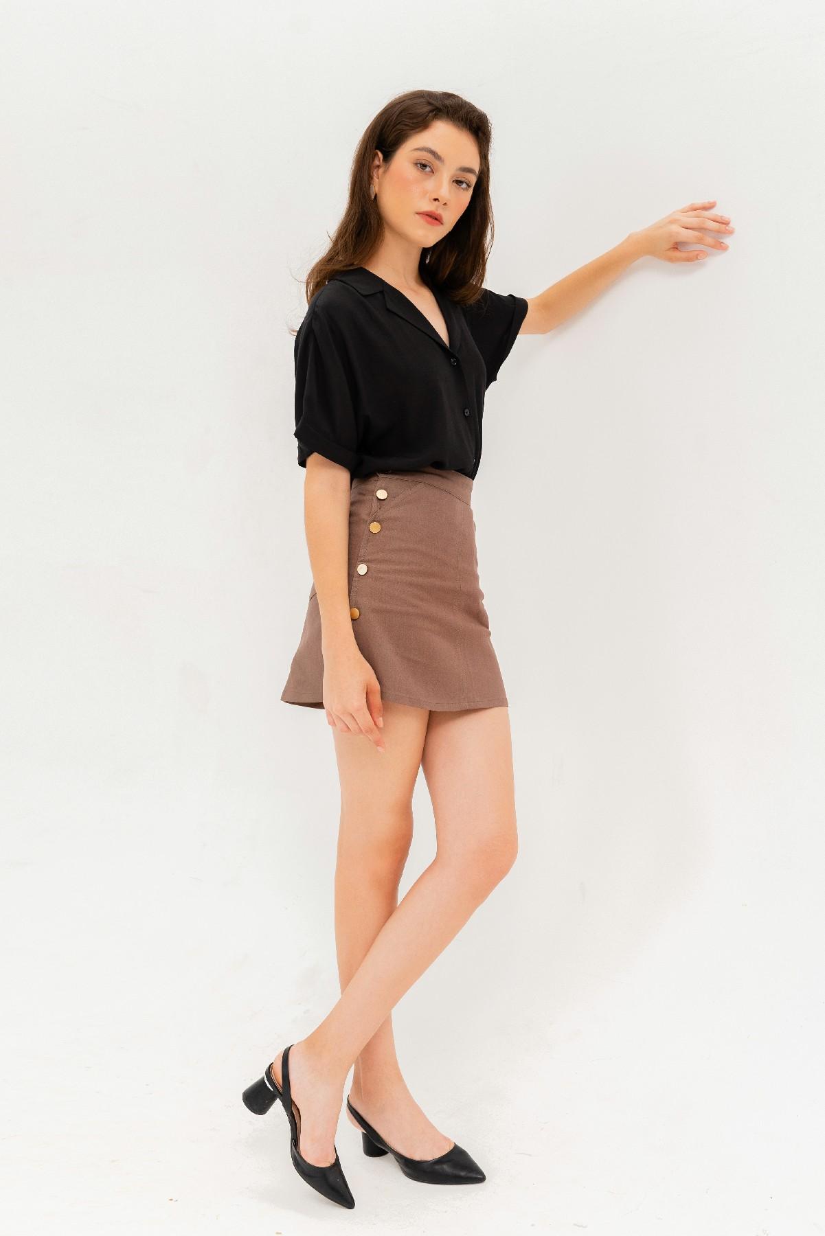 Double Button A-line Skirt - Chân váy chữ A