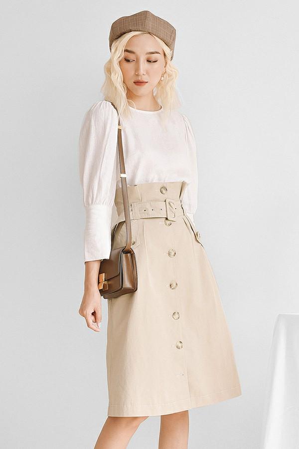 Front Button Up A-line Skirt - Chân Váy Chữ A Midi Kèm Hàng Cúc Giữa