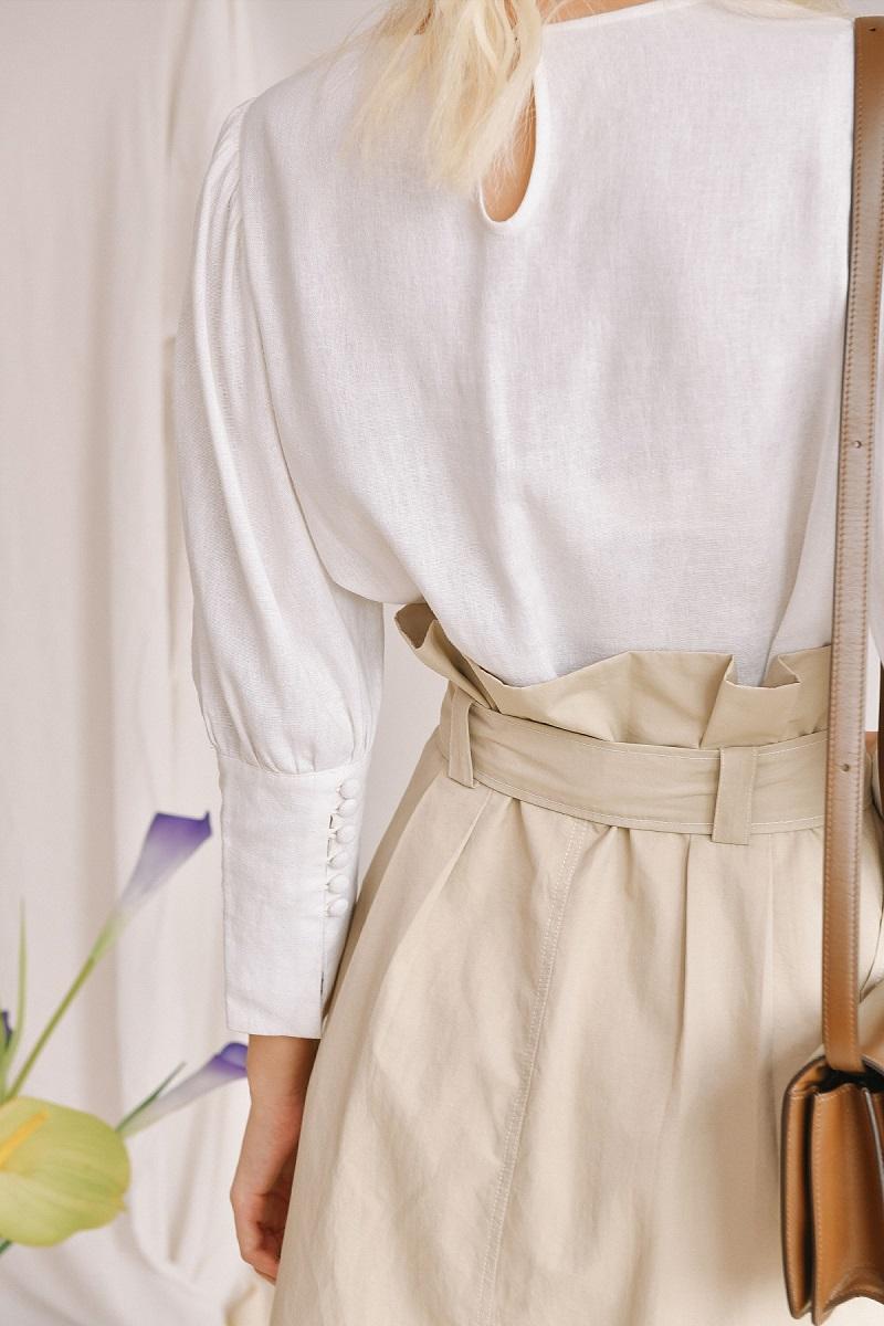 Chân váy chữ A midi kèm hàng cúc giữa 3