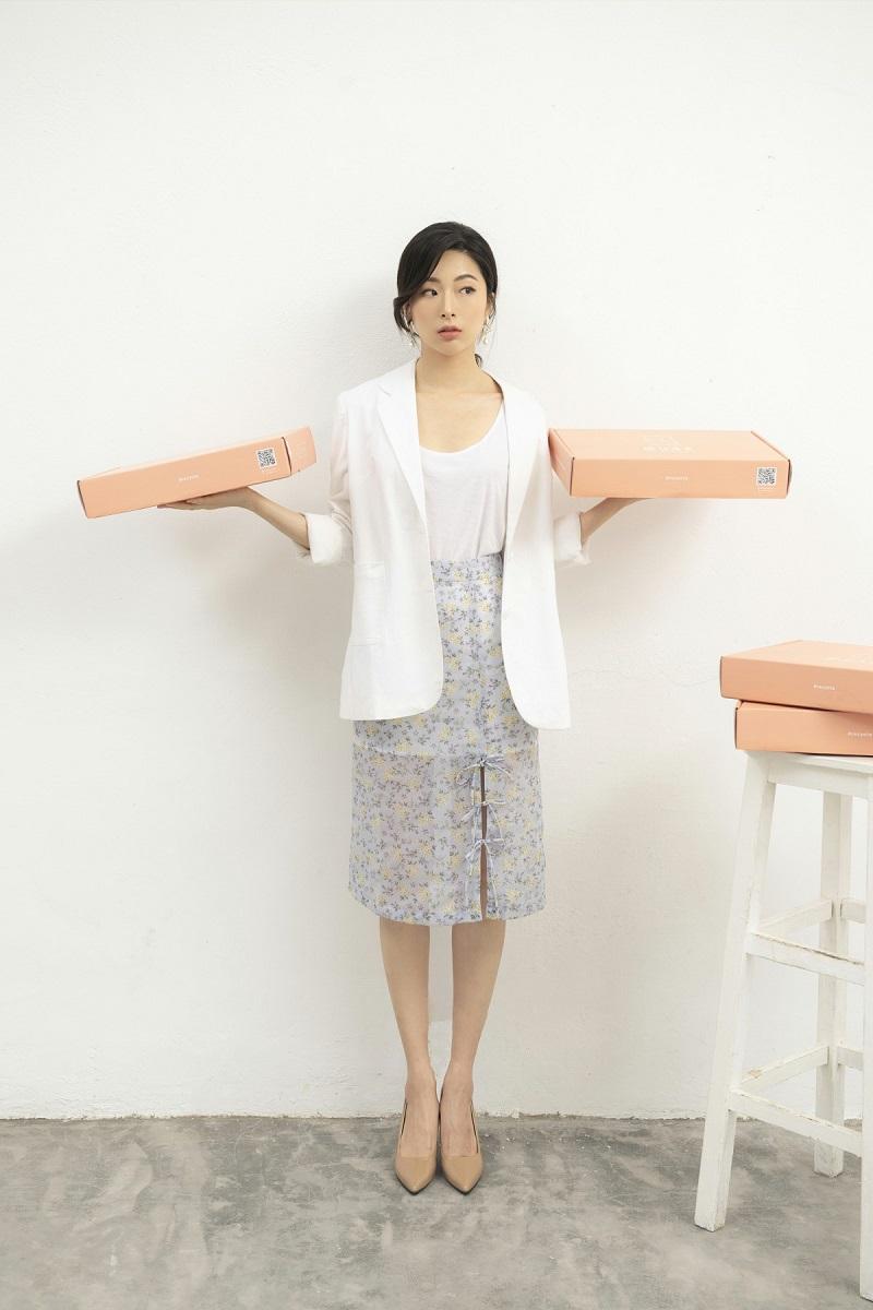 Floral Midi Skirt - Chân Váy Hoa Nhí Thắt Nơ